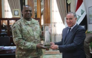 Iraqi Minister of Defense with General Austin